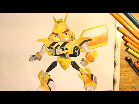 How To Draw Bumblebee Bird From Angry Birds Transformers
