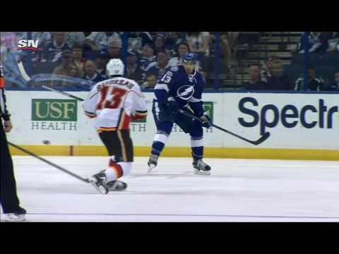 Video: Monahan gingerly tips in 100th goal of his career