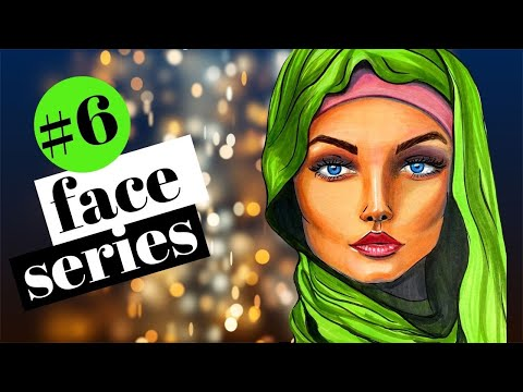 How to DRAW & SHADE a WHIMSICAL Middle Eastern Face with Hijab in Copic Markers (Whimsical Women #6)