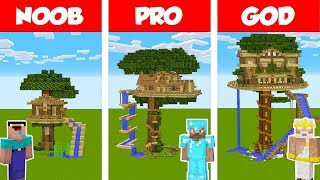 Minecraft NOOB vs PRO vs GOD: TREE HOUSE WITH WATER SLIDE BUILD CHALLENGE in Minecraft / Animation