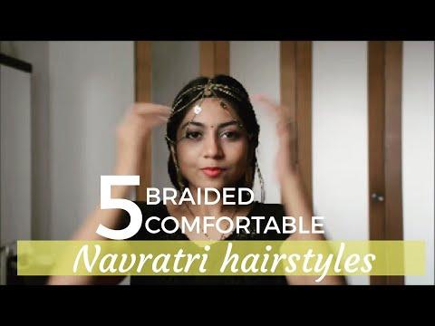 Braid hairstyles - 5 BRAIDED COMFORTABLE NAVRATRI Hairstyle TUTORIAL GARBA hairstyles