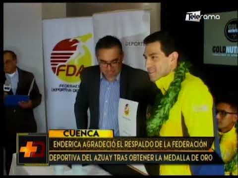 Enderica agradeció el respaldo de la Federación del Azuay tras obtener la medalla de oro