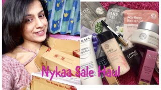 """Hey everyone! I recently bought few more stuff from nykaa and most of the items were on sale, so I thought to share it with guys what all I got and you can also have a look on Nykaa as most of time thy have sale and you can buy the stuff at good discount price, especially the faceshop sheet masks. Hope you enjoy watching this video. Do like, comment, share and subscribe. Thanks for watching 😊Products shown - Lakmé absolute blur primer The faceshop eye and lip makeup remover Bioderma White objective cleanser Lotus eco stay lipstick - purple chic Maybelline fit me foundation- natural buff 230 Makeup revolution highlighting strobe - moon lights Lotus matte gel sunscreen The faceshop white seed moisturiser Maybelline hyper gloss liquid eye liner - gold ation The face shop real nature sheet masksThe Faceshop Sheet Masks Review https://youtu.be/YN-MqTLnyeEWhat Iam wearing - Top - SheIn Nails - Maybelline color show blueberry ice Lips - Lakme 9 to 5 matte mouse lip color - blush velvet-~-~~-~~~-~~-~-Please watch: """"BEST DANDRUFF TREATMENT AT HOME  SEBORRHEIC DERMATITIS TREATMENT AT HOME 100% RESULTS IN ONE USE"""" https://www.youtube.com/watch?v=sncnTLnEUK4-~-~~-~~~-~~-~-"""