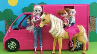Camper! Elsa's barbecue! Picnic S'mores Horseriding! Elsa & Anna take girls camping in Barbie's deluxe Camper Van! Camping! Elsa and Anna are taking their gi...
