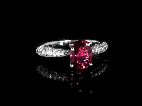 GIA Certified 1.47ct Oval Cut Purplish Red Ruby and Diamond Ring