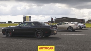 Drag race | USA v Europe v Japan | Dodge Challenger Hellcat vs Porsche 911 Turbo S vs Nissan GT-R by Autocar