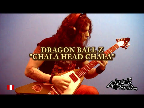video que muestra a un hombre tocando Dragon Ball Heavy Metal