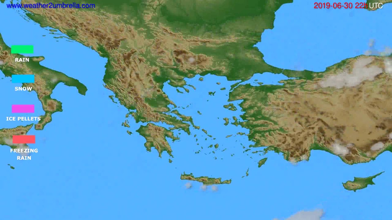 Precipitation forecast Greece // modelrun: 00h UTC 2019-06-28