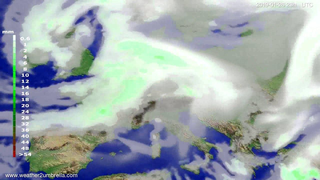 Precipitation forecast Europe 2019-01-23