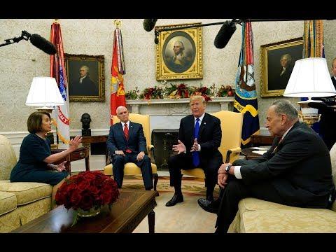 "Trump ""temper tantrum"": President spars with Pelosi, Schumer in Oval Office border debate"