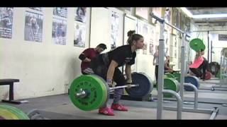 Weightlifting training footage of Catalyst weightlifters. Jessica snatch high-pull, Brian back squat, Jessica back squat, Jessica clean, Brian snatch high-pull, Donovan clean and jerk, Jessica clean pull, Audra snatch, Chyna back squat, Alyssa OHS. - Wei