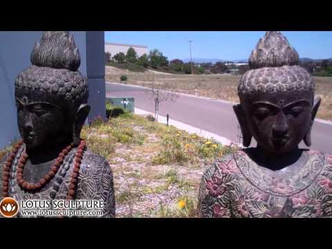 SOLD Stone Standing Flower Buddha 47