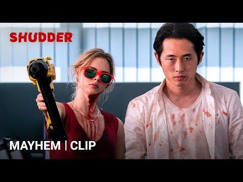 MAYHEM - Derek's Office Standoff [HD] | A Shudder Exclusive | Steven Yeun Movie