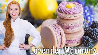 Lavender French Macarons with Blackberry Lemon Filling by Tatyana's Everyday Food