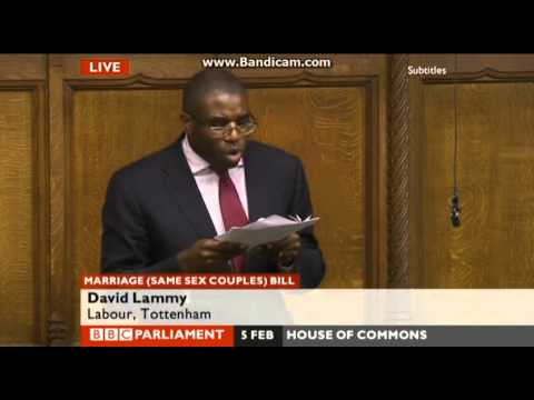 equal - Labour MP for Tottenham David Lammy gives a passionate speech in the House of Commons on why he'll vote in favour of the Marriage (Same Sex Couples) Bill 2013.