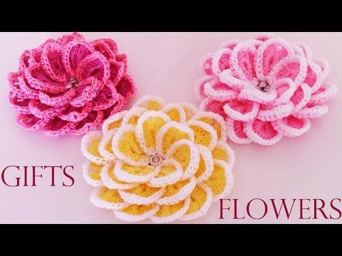 Como tejer  fácil y rápido flores en una sola tira- Make creates  beautiful flowers cute gifts