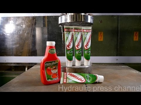 Pressing last toothpaste and ketchup out with hydraulic