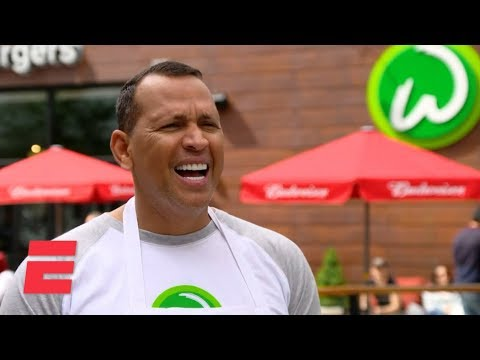 Alex Rodriguez works at Wahlbugers after losing to Mark Wahlberg | ESPN