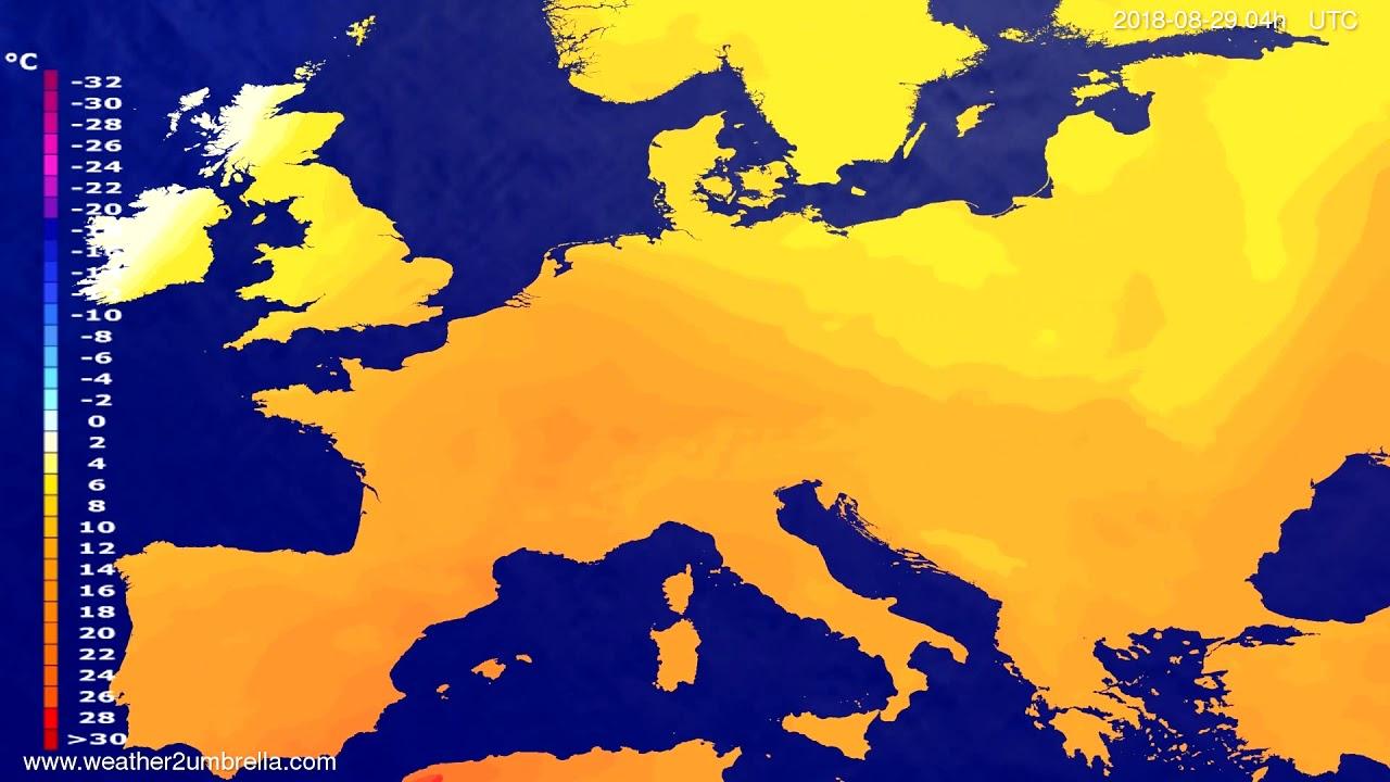 Temperature forecast Europe 2018-08-25