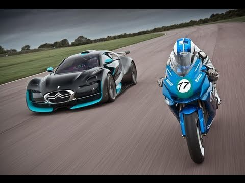 citroen - We've already shown video of Citroen's electric-powered Survolt concept car, and now it takes on an electric Agni Z2 motorcycle in the world's first electric...