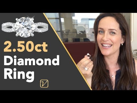 2.50 ct DIAMOND RING   What a 2.50 Carat Pave Solitaire Ring Looks Like On A Finger