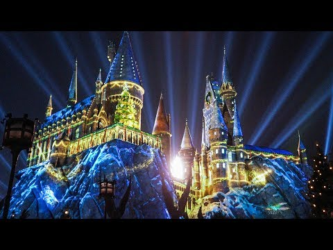 """FULL """"The Magic of Christmas at Hogwarts"""" Harry Potter projection show, Universal Orlando"""