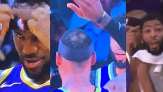 LeBron's hair falls out during game but doesn't know, Anthony Davis lets him know