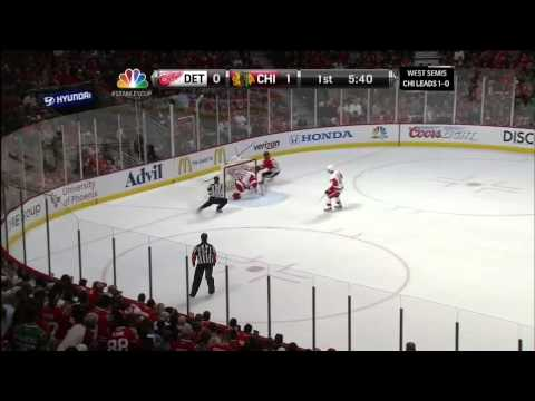 Murtz - Patrick Kane slapshot goal 1-0 May 18 2013 Detroit Red Wings vs Chicago Blackhawks NHL Hockey. NBC Sports feed. Announcers PBP Doc Emrick, color Eddie Olczyk...