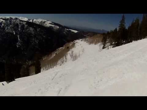 SKIING ASPEN HIGHLANDS COLORADO HELMET CAM ON DOUBLE BLACK APRIL 27 2013