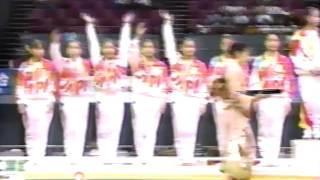 JPN TV reports on the women's Team and AA competitions at the 1994 Asian Games. Mo Huilan, Risa Sugawara, Qiao Ya, Mari Kosuge.