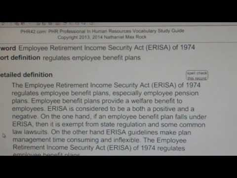 Employee Retirement Income Security Act (ERISA) of 1974 PHR SPHR HR License Exam VocabUBee.com