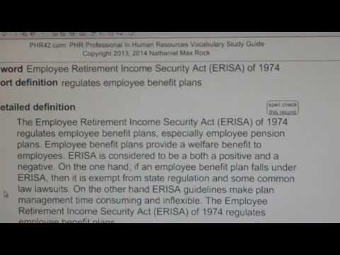Employee Retirement Income Security Act (ERISA) of 1974 PHR SPHR HR License Exam VocabUBee.com