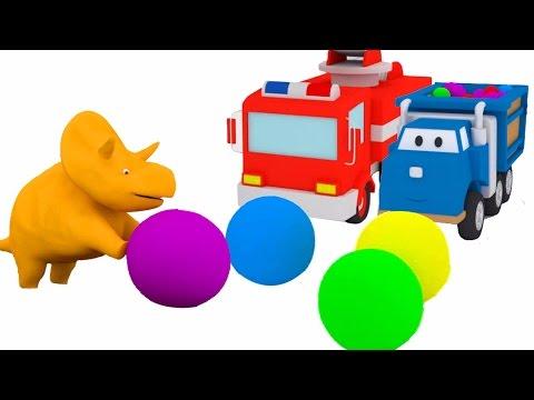Mingii şi trambuline: învaţă maşinuţele cu Dinozaurul Dino  Desene animate educaţionale pentru copii