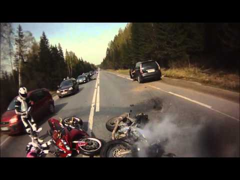 Helmet cam captures biker's crash in traffic pileup