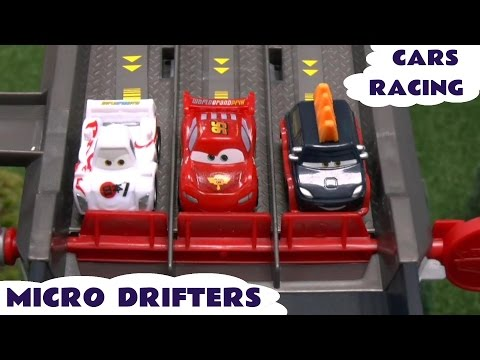 micro - Micro Drifters and Angry Birds Telepod Racers. Play Doh starting lights. Lego minifigure crowd including Simpsons and Lego Movie characters. Disney Pixar Cars 2 Lightning McQueen Kabuto Shu...