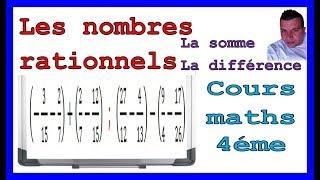 Maths 4ème - Les nombres rationnels Somme et Différence Exercice 31