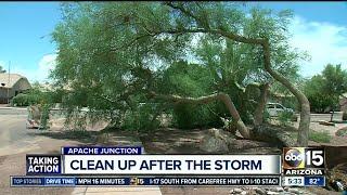 Monsoom storms caused damage around the Valley on Monday.