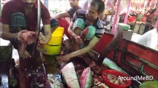Skin Removing of African Catfish  Big Indian Major Carp Fish Slice In Amazing Fish Market
