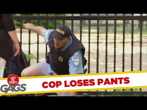 Cop Loses His Pants Climbing Over Fence! - Youtube