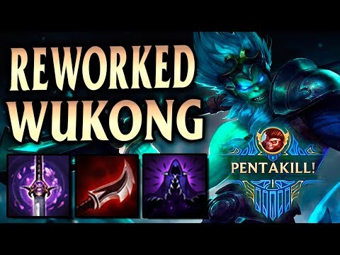FIRST REWORKED WUKONG PENTA! Full Lethality Mid Wukong! - League of Legends S9