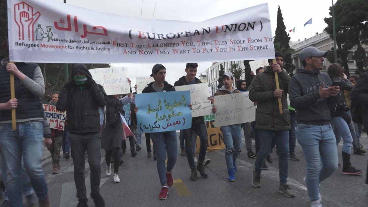 Κινητοποίηση προσφύγων έξω από τα γραφεία της Ευρωπαϊκής Επιτροπής στην Αθήνα
