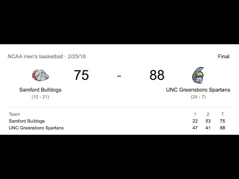 NC Greensboro-Samford 88-75 (24pts., 7 reb., 2 blk., no 13 red)