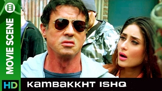 Sylvester Stallone saves the day  Kambakkht Ishq  Movie Scene