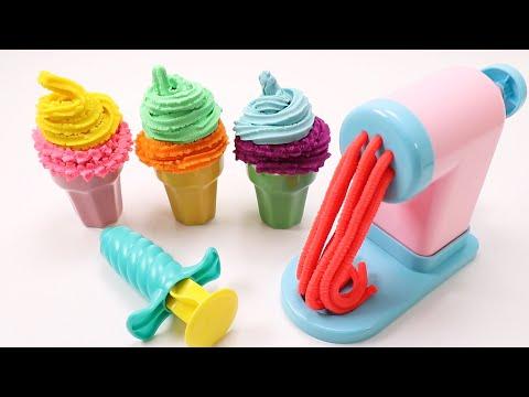 Making ICE CREAM Pretend Play Making Colorful PlayDoh Noodles Pasta 플레이도우 아이스크림 파스타 국수 만들기 놀이 #23