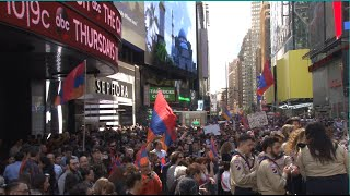 New York, Times Square - 101st Anniversary of Armenian Genocide Commemoration