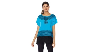 DG2 by Diane Gilman Embroidered Top with Fringe Hem