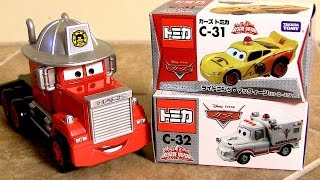 Patrol Lightning McQueen & Ambulance Mater Rescue-Go-Go Fire Department Mack Truck Hauler タカラトミー