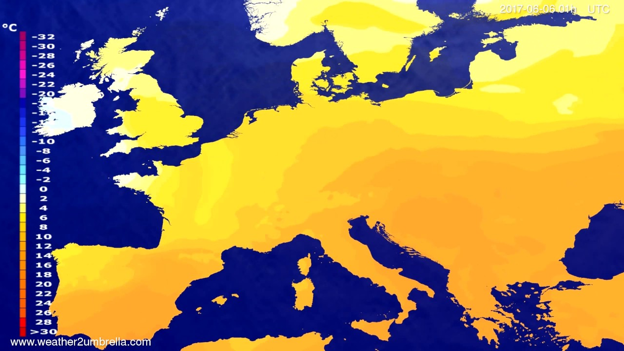 Temperature forecast Europe 2017-06-03