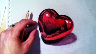 How to draw a Heart - 3D red Heart time lapse