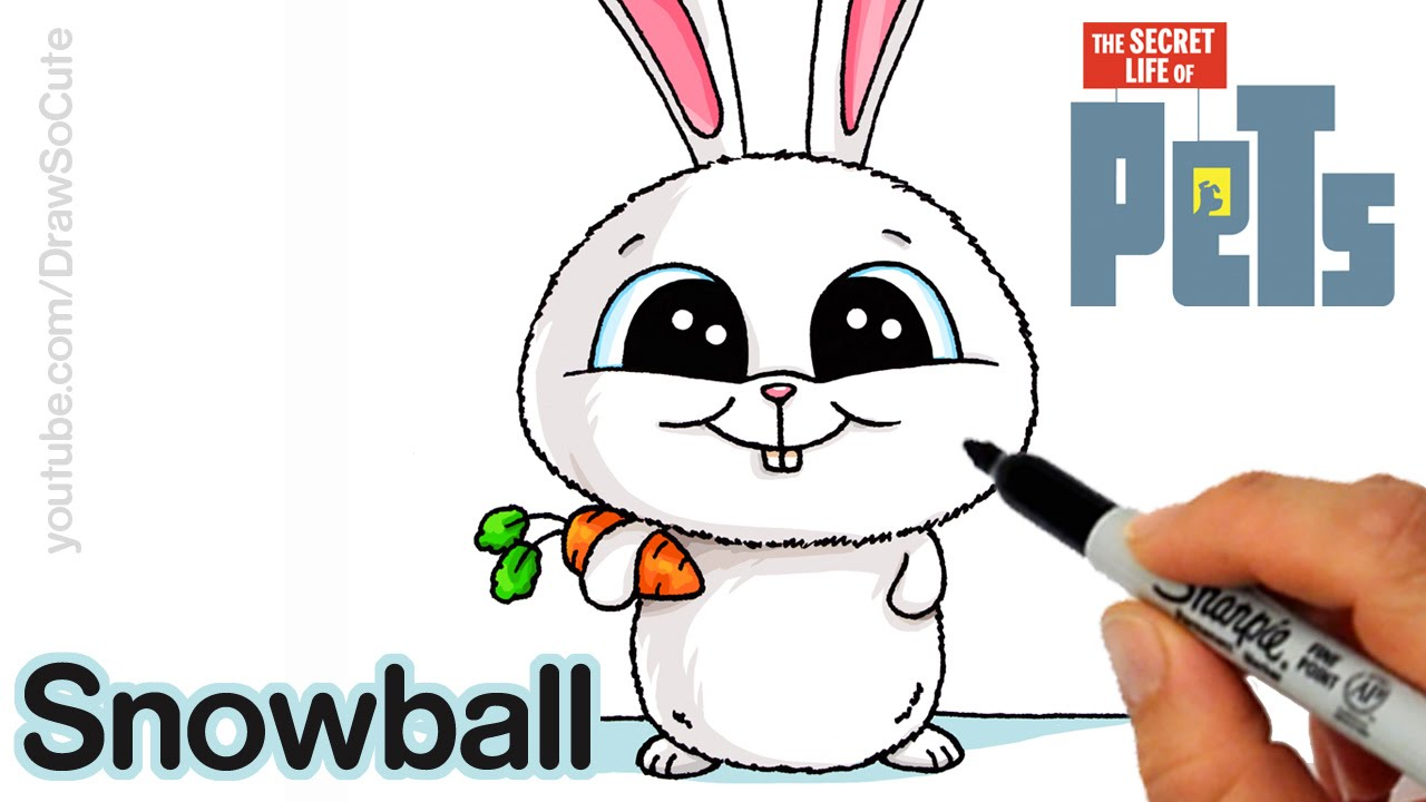 How To Draw Snowball Step By Step Easy The Secret Life Of Pets  #howtodrawsnowballsecretlifeofpetseasy #